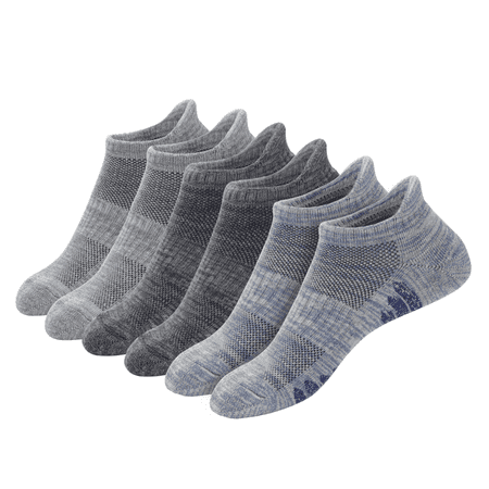 u&i Men's Performance Cushion Cotton Low Cut Ankle Athletic Socks with Tab, Gray (6-Pack) Performance Low Cut Socks
