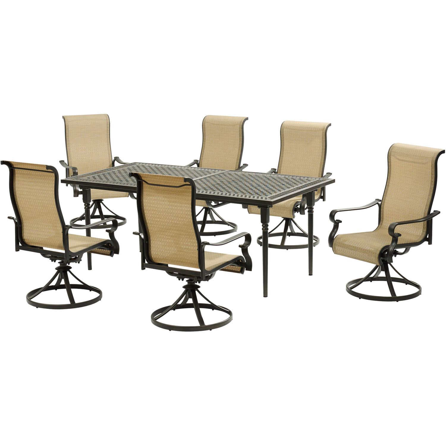 Hanover Brigantine 7-Piece Dining Set with an Expandable Cast-Top Dining Table and 6 Sling Swivel Rockers
