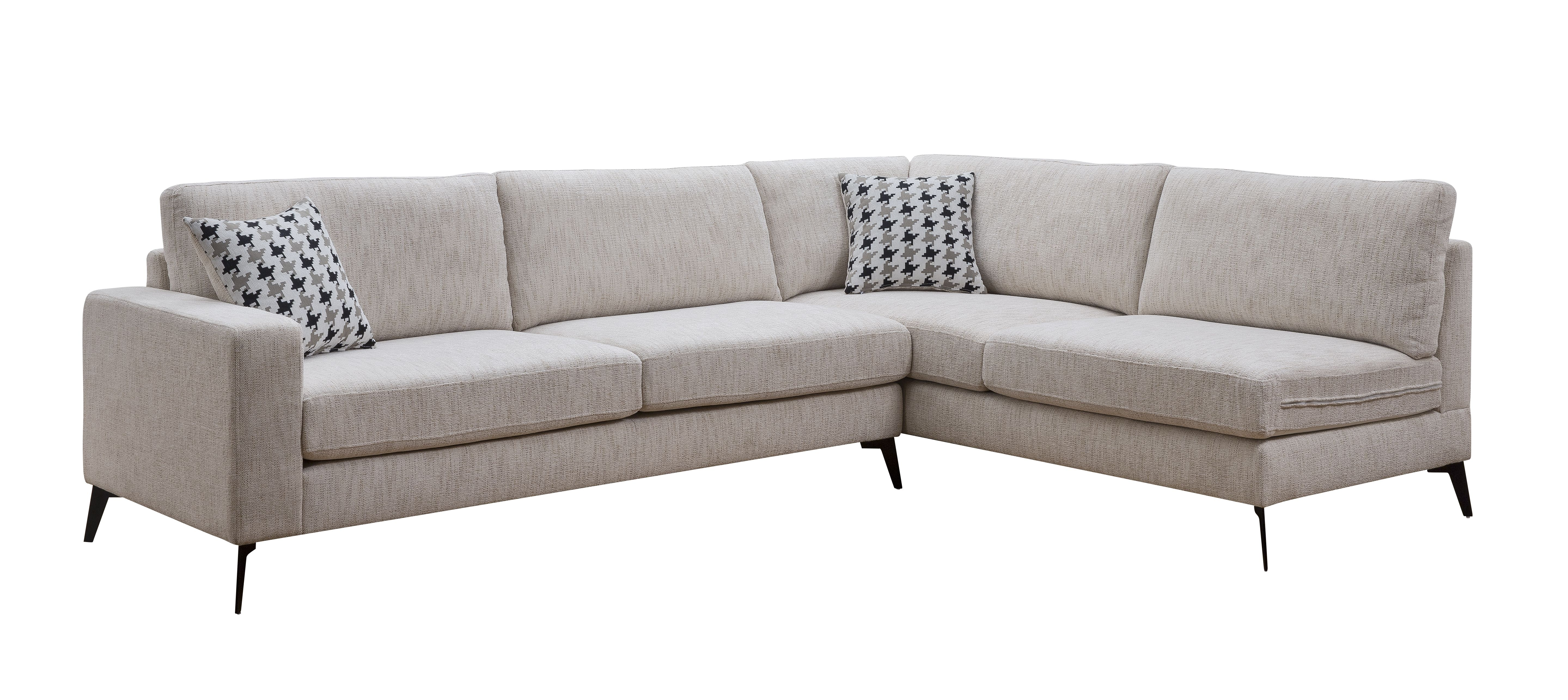 ACME Crocosmia Sectional Sofa With 2 Pillows In Beige Chenille