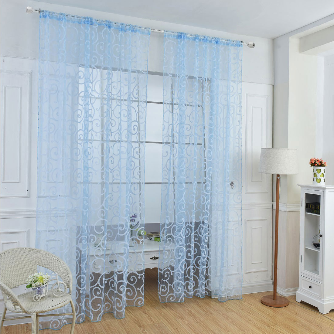 Floral Tulle Sheer Voile Curtains Solid Drape Door Room Window Panels