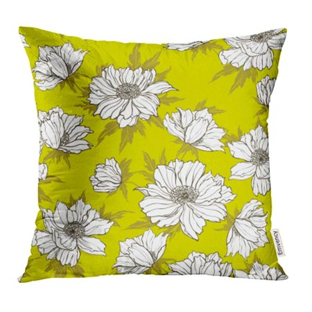 CMFUN Yellow Abstract Flower on White Teal Beautiful Beauty Bloom Blossom Bright Pillowcase Cushion Cases 18x18 inch