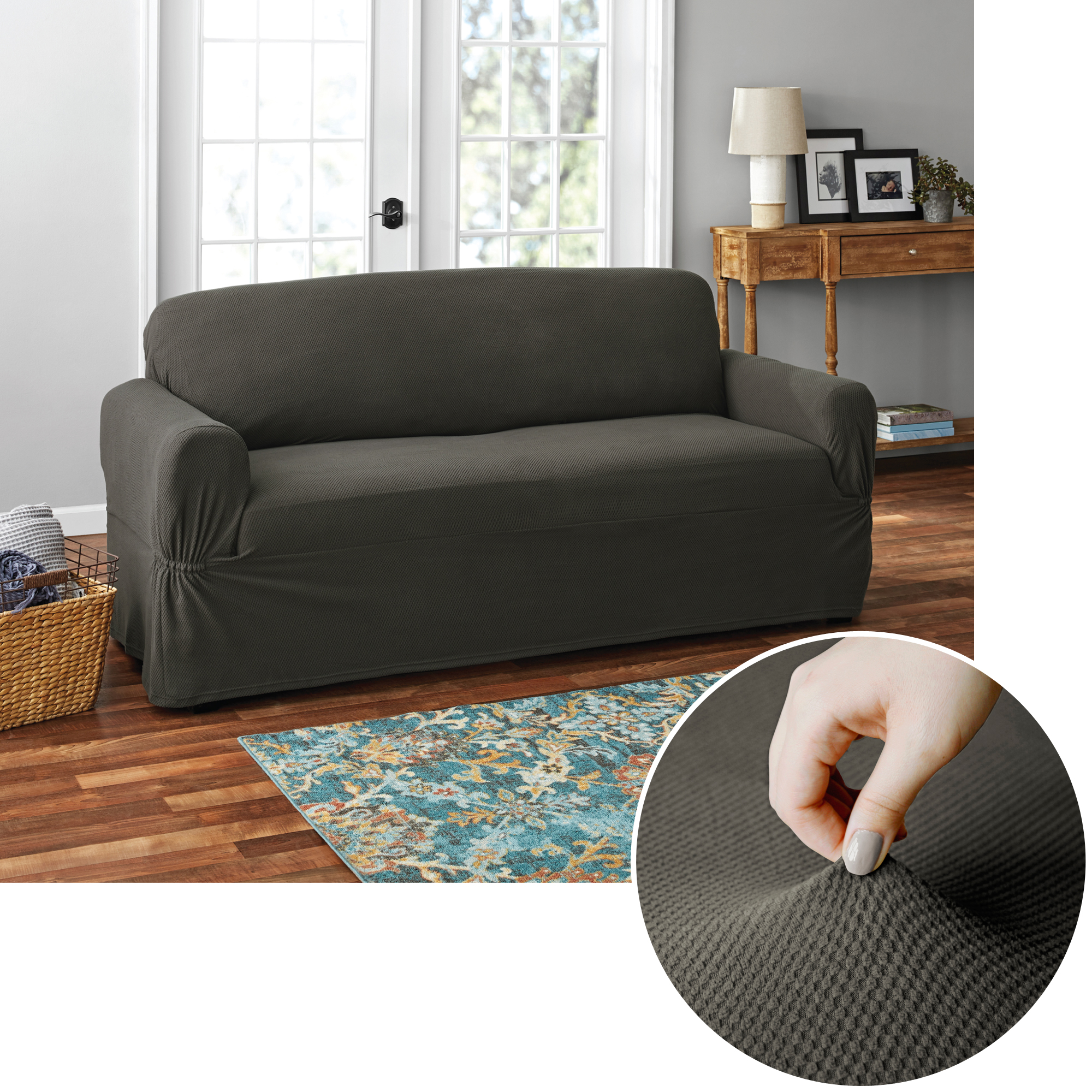 Fabulous Mainstays Pixel 1 Piece Stretch Loveseat Furniture Cover Gray Walmart Com Gmtry Best Dining Table And Chair Ideas Images Gmtryco