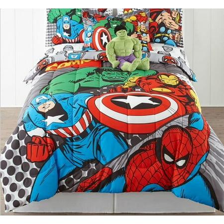 Avengers Marvel Comics Reversible Twin Comforter Sheets Bonus Pillow Sham 5 Piece Bed