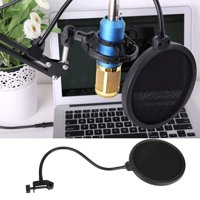 FAGINEY Microphone Pop Filter, Mic Pop Filter, Studio Microphone Mic Wind Screen Mask Gooseneck Shield Pop Filter Double Layer Black
