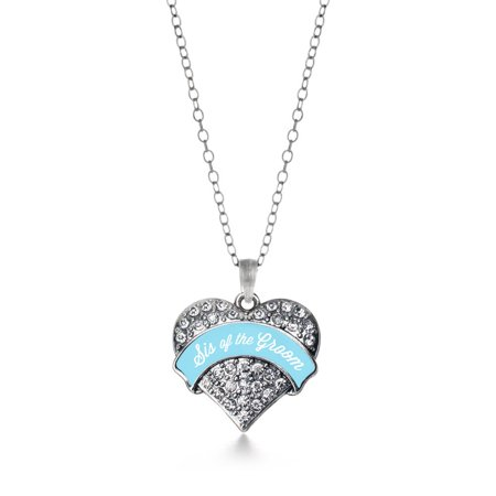 Light Blue Sis Of The Groom Pave Heart Necklace