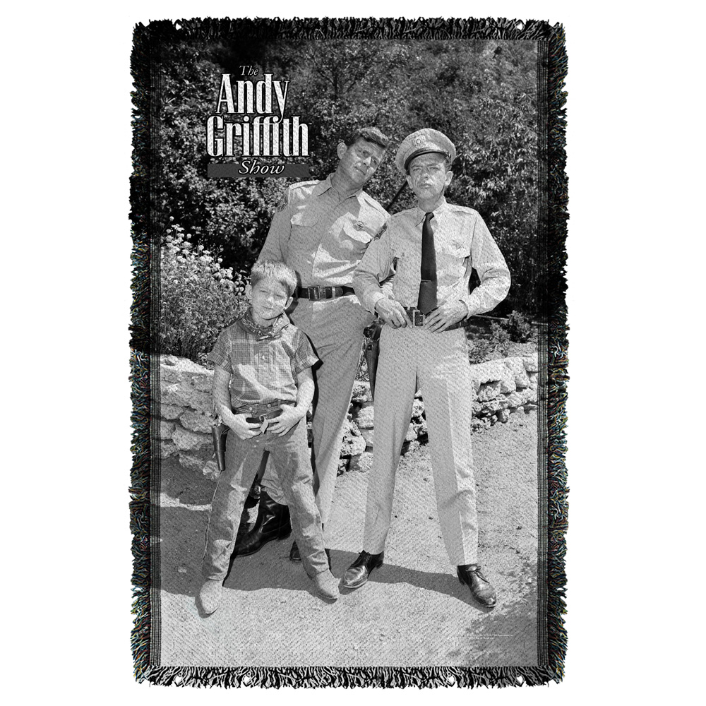 Andy Griffith Lawmen Woven Throw White 48X80
