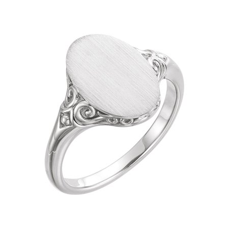 Platinum Oval Signet Ring