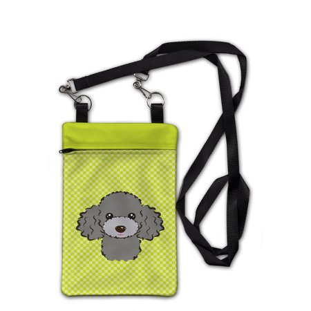 Checkerboard Lime Green Silver Gray Poodle Crossbody Bag Purse BB1321OBDY