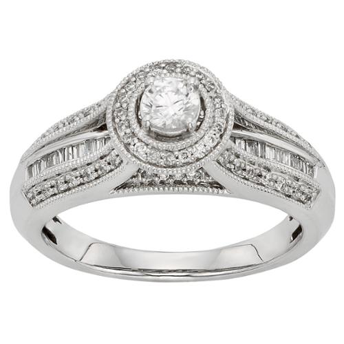 Sofia  10k White Gold 1/2ct TDW Round-cut Diamond Halo Engagement Ring