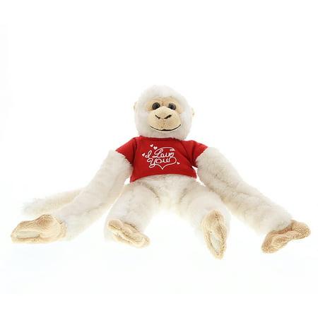- Super Soft Plush Dollibu Long Arm Hanging White Squirrel Monkey Red I Love You Shirt Valentines Plush