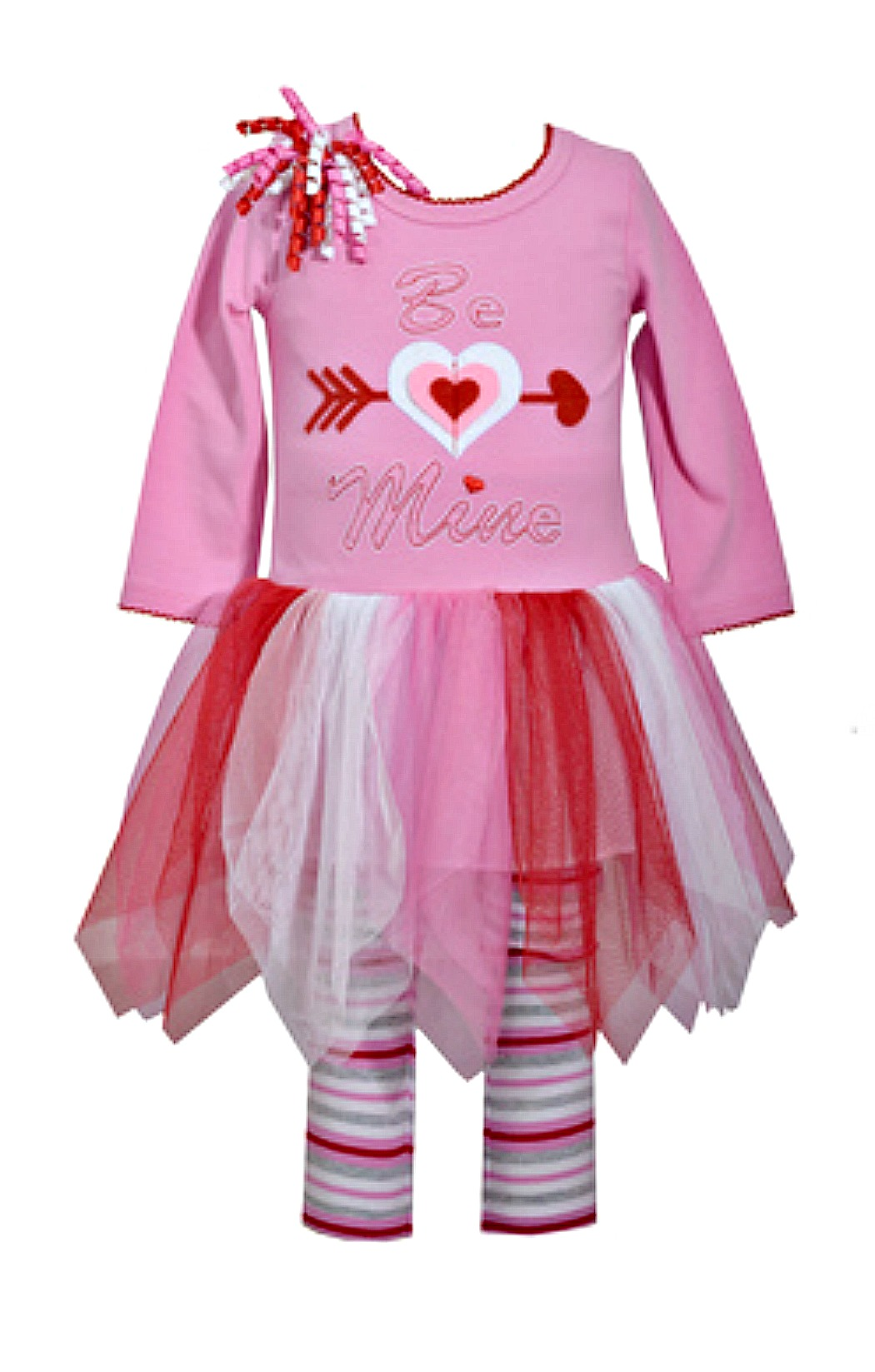 Valentines Day Outfit Infant Girls Pink Be Mine Tutu Dress And Striped Leggings Set
