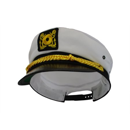 Yacht Hat (Adult Ship Navy Officer Yacht Sea Skipper Captain Hat Cap Costume)