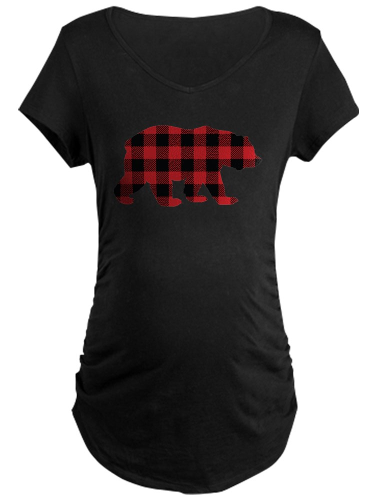 CafePress - Buffalo Plaid Bear - Maternity Dark T-Shirt
