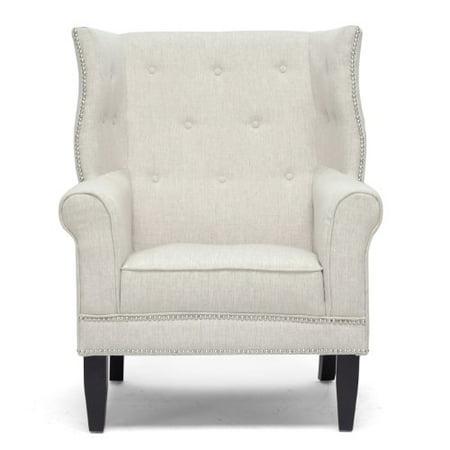 Baxton Studio Kyleigh Linen Modern Arm Chair, Beige