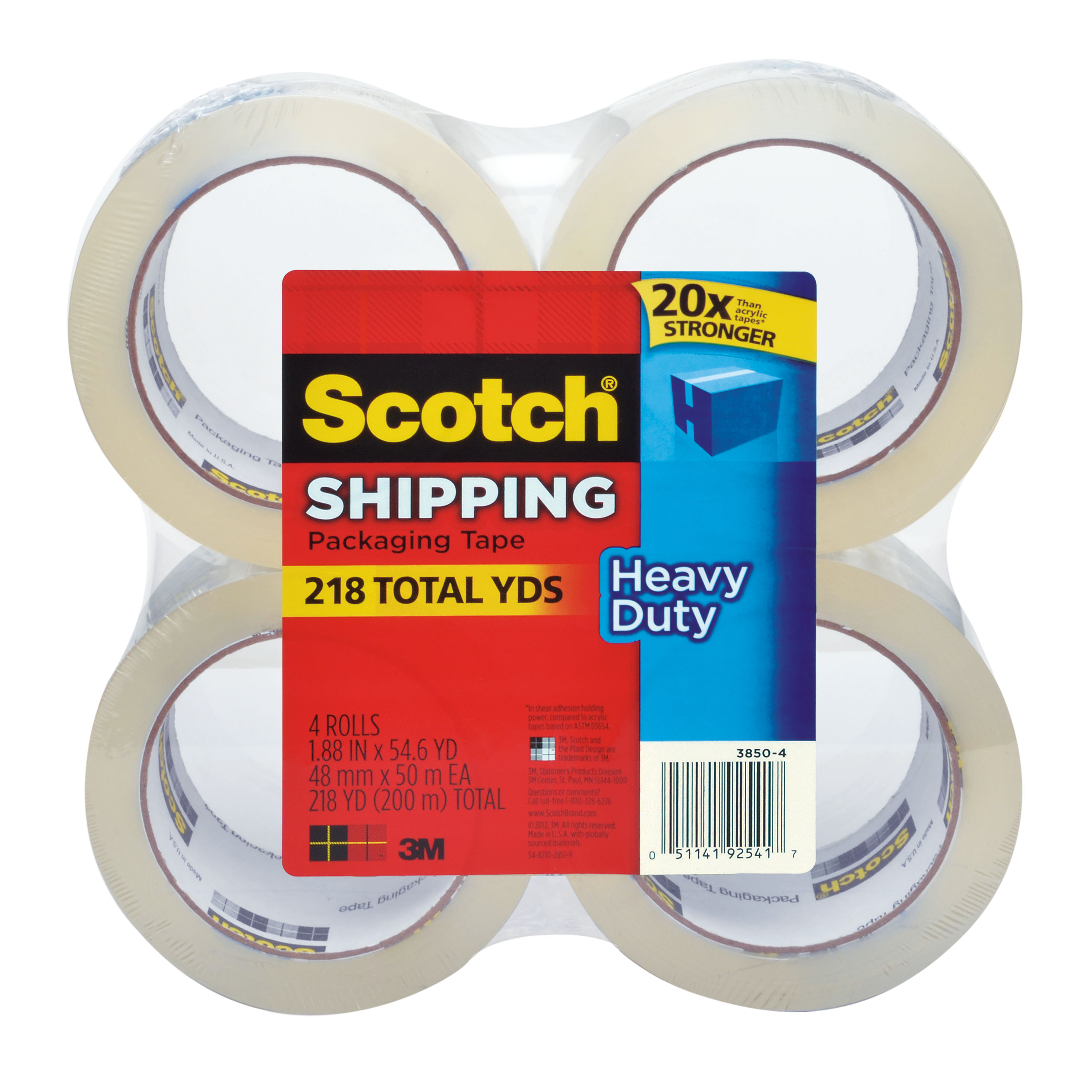 Scotch Heavy Duty Shipping Packaging Tape, 1.88 in. x 54.6 yd., Clear, 4 Rolls/Pack