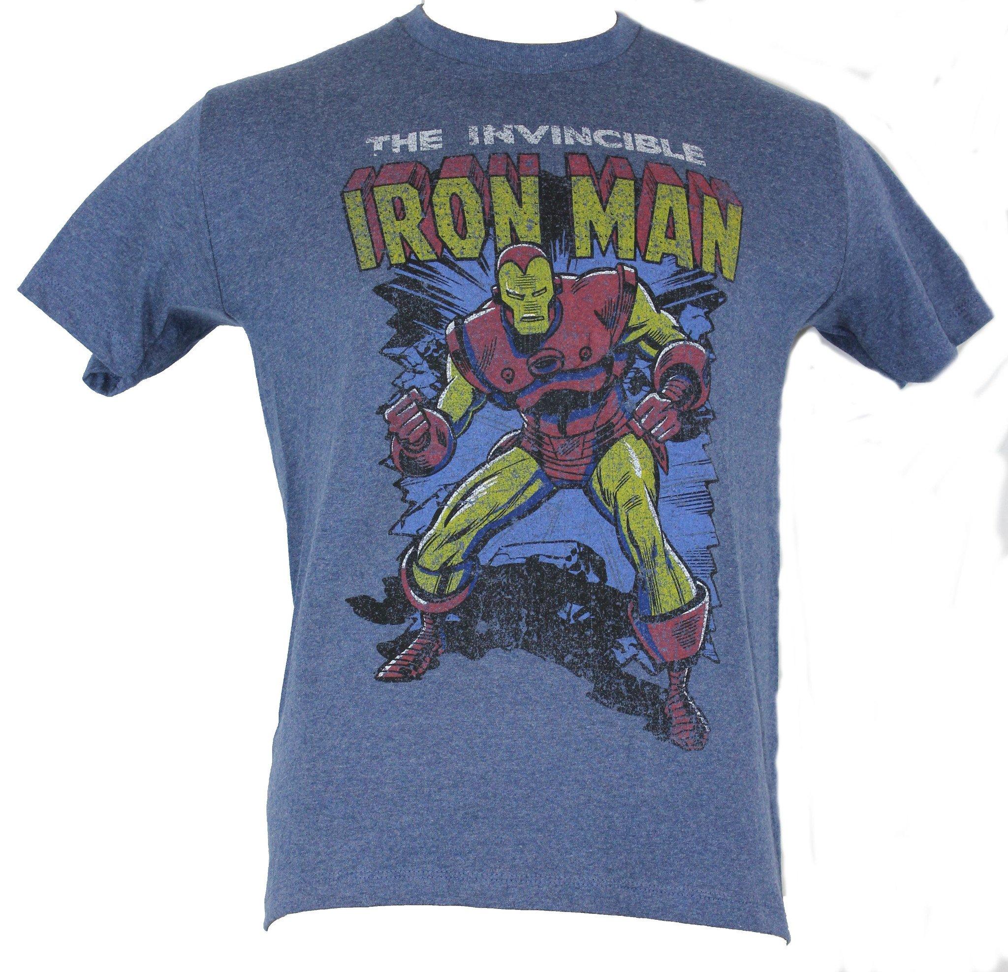 Iron Man(Marvel Comics) Mens T-Shirt - Wall Busting Old School Distresssed Image
