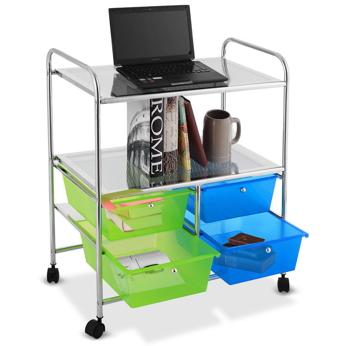 GHP Steel & Plastic 4 Big Colored Drawers & 2 Shelves Rolling Storage Cart w 4 Wheels