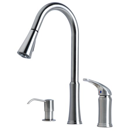 Builders Shoppe 1171ss Single Handle Pull Down Kitchen Faucet With Soap Lotion Dispenser Stainless Steel Finish