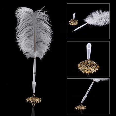 Ymiko Ostrich Feather Wedding Quill Signing Ballpoint Writing Pen With Metal Holder New (Wedding Pens)