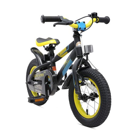 BIKESTAR Original Premium Safety Sport Kids Bike Bicycle for Kids Age 3-4 Year Old Children 12 Inch Mountain Bike Edition for Boys and Girls Black & (Best Bicycle For 3 Year Old Boy)