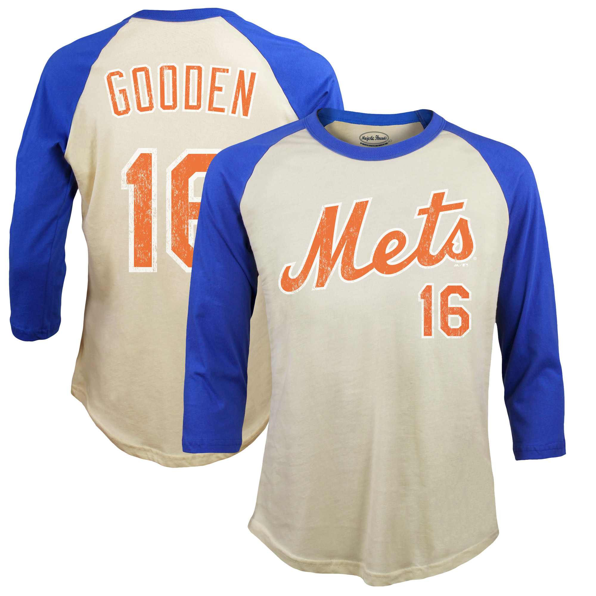 Dwight Gooden New York Mets Majestic Threads Softhand Cotton Cooperstown 3/4-Sleeve Raglan T-Shirt - Cream