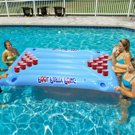 Grtxinshu Party Barge Inflatable Beer beerpongtable Pong Table Pools Rivers Lakes Cooler Floating Lounge Swim Toy Blue - Party City Beer Pong Table