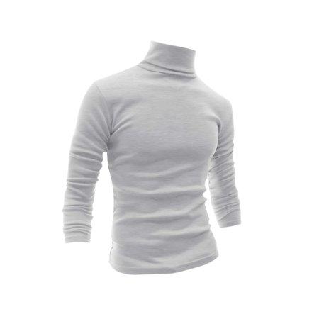 1606 WY47 Men Turtle Neck Slim Fit T-Shirt Light Gray /XL (US 46)