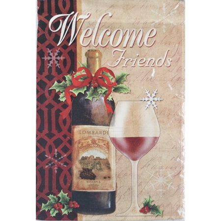 Ganz Welcome Friends Christmas Party Lawn Garden Flag