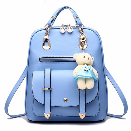 Fashion Sweet Bear Women Pu Leather School College Backpack For Adults Travel Book Bags