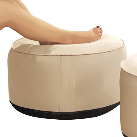 Inflatable Pouf Ottoman For Seat Footrest or Table, Natural