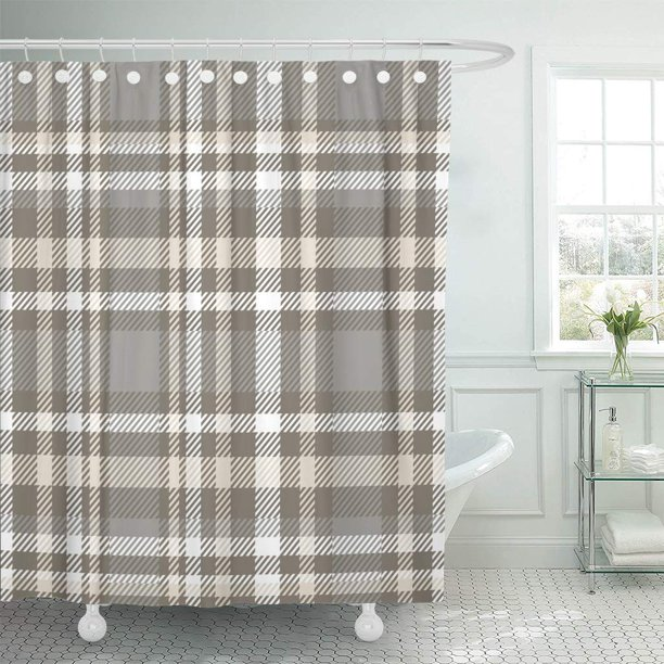 Ksadk Brown Border Plaid Check Pattern, Shower Curtains Gray And Beige