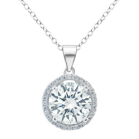 Cluster Jewelry - Sophia 18k White Gold Plated Circle Halo Pendant Necklace - Silver Halo Necklace w/Solitaire Round Cut Cubic Zirconia Diamond Cluster - Wedding Anniversary Jewelry - MSRP - $150