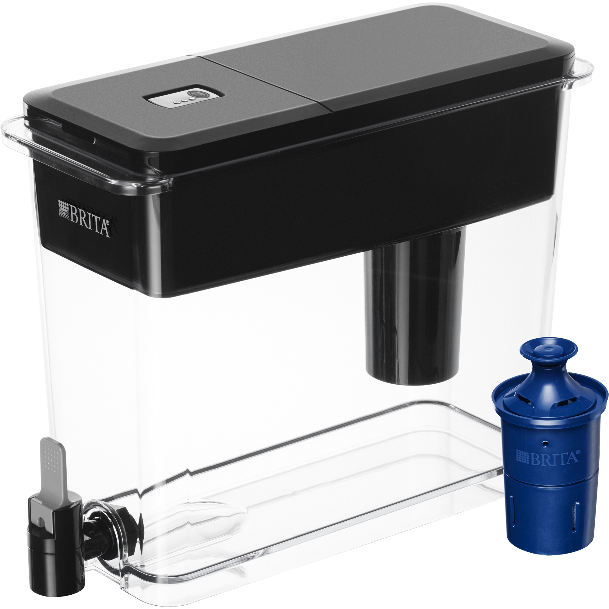 Brita Large UltraMax Water Dispenser with 1 Longlast Filter - BPA Free - Jet Black - 18 Cup