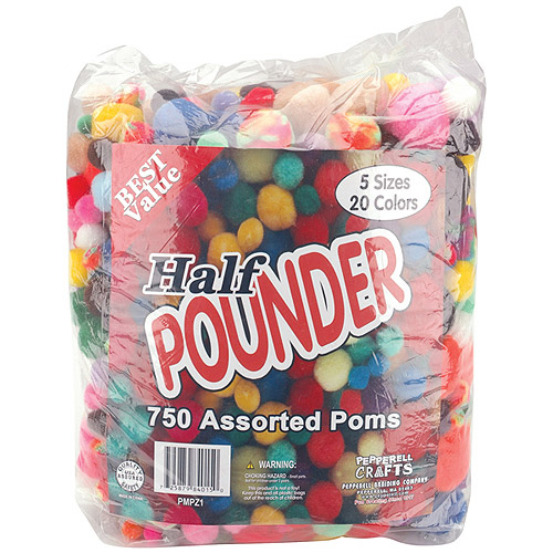 Pepperell Assorted Pom-Poms, 1/2 lb