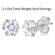 Amanda Rose 2 3/4ct tw Round Cubic Zirconia Stud Earrings in Stainless Steel