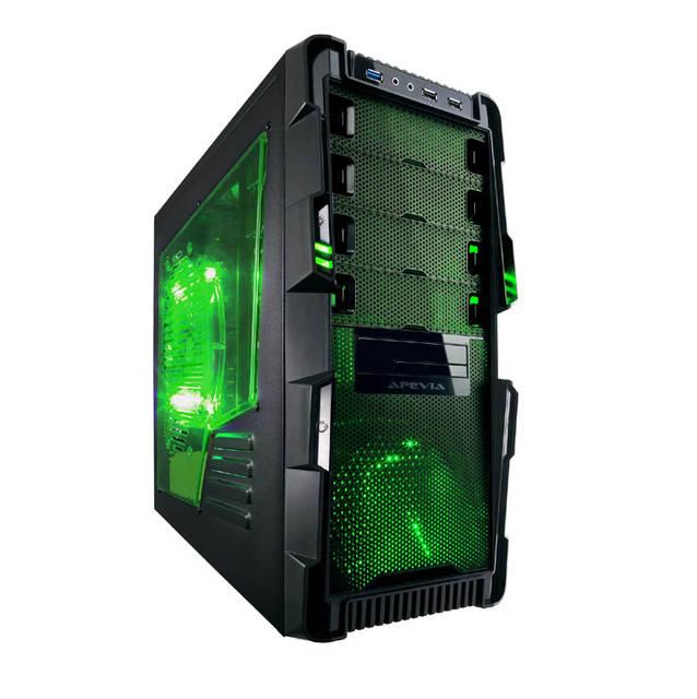 Apevia X-Hermes No Power Supply ATX Mid Tower (Black/Green) X-HERMES-GN