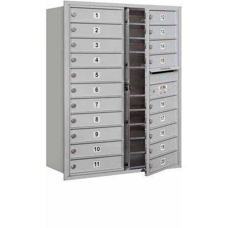 "Salsbury Industries 4C Horizontal Mailbox 11-Door High Unit (41""), Double Column, 20 MB1 Doors, Aluminum, Front Load, USPS Access"