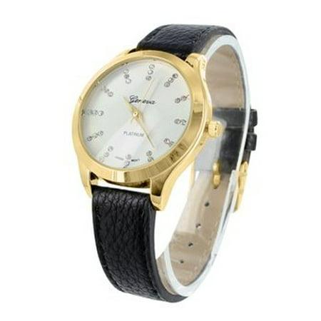 Womens Platinum Watch Gold Tone Slim Design Black Leather Strap MK Style