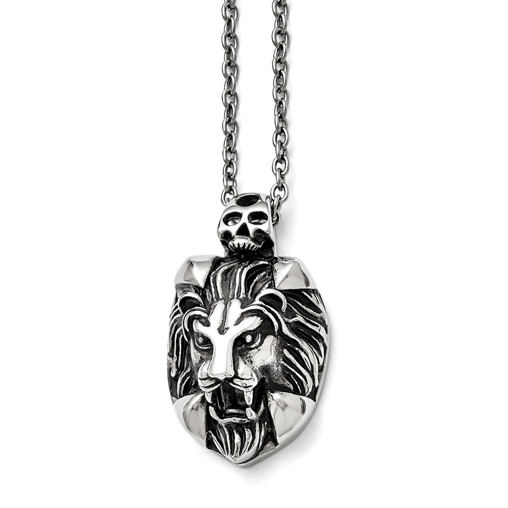 Stainless Steel 22in Polished and Antiqued Lion and Skull Necklace