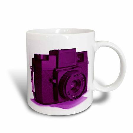 3dRose Picture of a Vintage purple plastic film camera, Ceramic Mug, 11-ounce