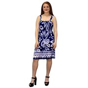 Peach Couture Juniors Knee Length Multicolor Exotic Smocked Printed Summer Dress (Aztec Navy White XL)