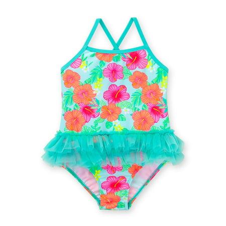 09ba8a5a887de Healthtex - Toddler Girl One Piece Tutu Swimsuit - Walmart.com
