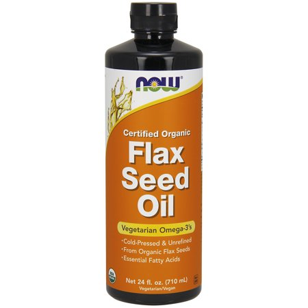 Now Certified Organic Flax Seed Oil Vegaterian Omega-3s, 24 Oz.