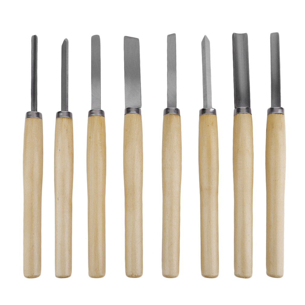 8 Pieces Wood Handles Lathe Chisels Woodworking Lathe TurningTool Set Oval Knife Tools For Carving Wood Carving Chisels