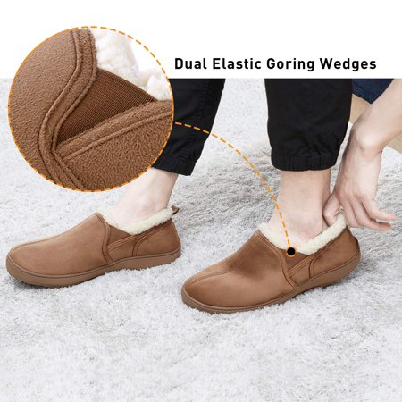 Men's Moccasin Slippers House Shoes Clogs Micro Suede Memory Foam Wool-Like Plush Fleece Lined Anti-Skid