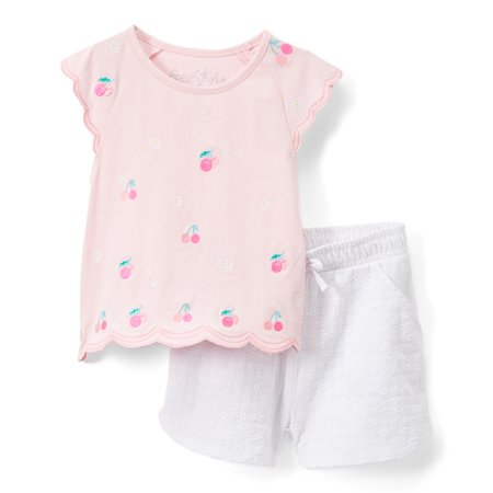 - Cherry Scallop Top and Printed Shorts, 2pc Outfit Set (Toddler Girls)