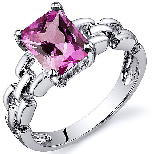 Oravo 2.00 Carat T.G.W. Created Pink Sapphire Rhodium over Sterling Silver Engagement Ring