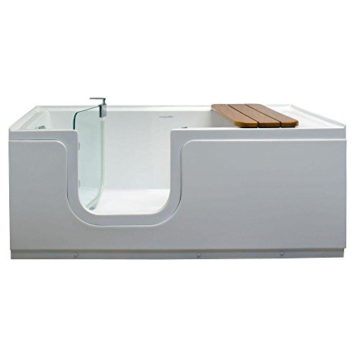 Freestanding Step In Bathtub 5ft. With Waterproof Tempered Glass Tub Door  And Bench In