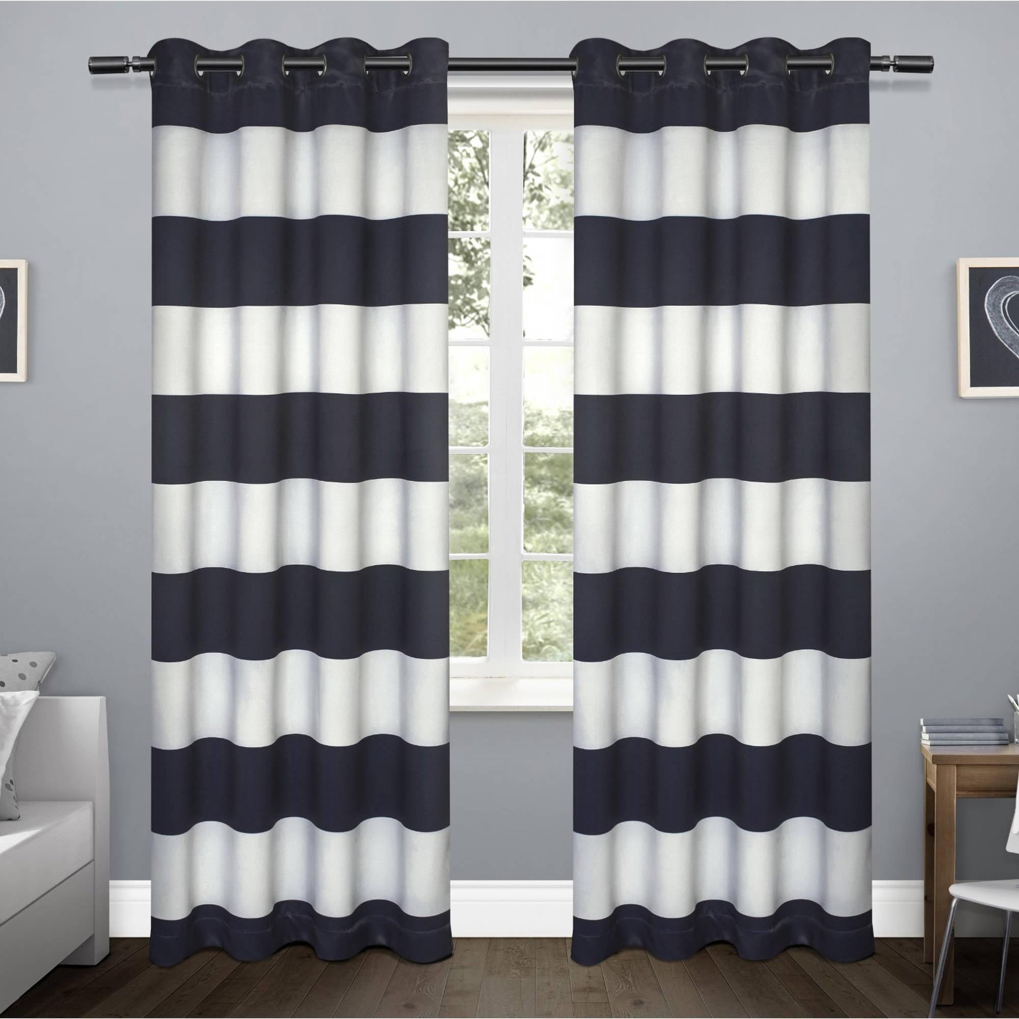 Kids Rugby Stripe Sateen Room Darkening Grommet Top Window Curtain Panel Pair, Navy,... by Exclusive Home