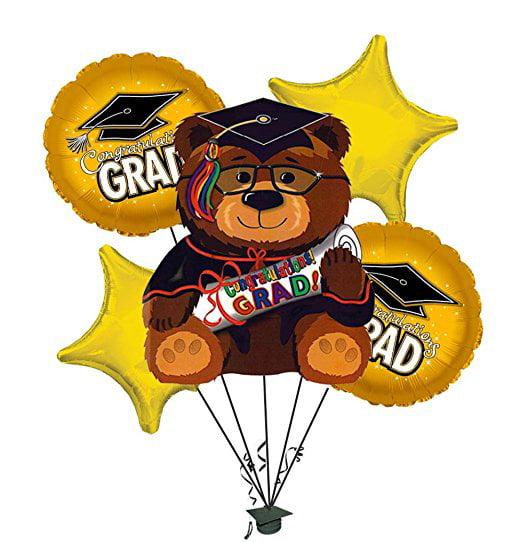 Graduation Bear Gold Balloon Bouquet